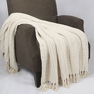 BOON Space Yarn Knitted Throw Couch Cover Sofa Blanket, 50  x 60 , String