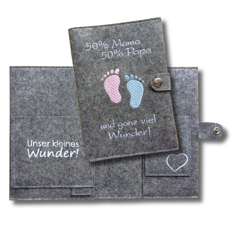 Mutterpassh/ülle aus Filz f/ür die werdende Mama DE /& /Österreich, inkl. Platz f/ür U-Heft Personalisierbares Geschenk f/ür Schwangere
