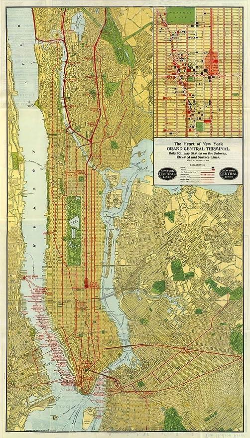 Amazon Com Magnet 1918 Nyc Subway Art Deco Historic Manhattan Map