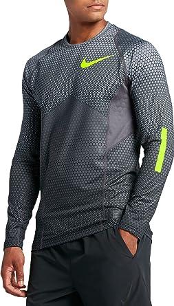 158a044d3399 Nike Mens Pro Hyperwarm Long Sleeve Training Shirt Cool Grey Dark Grey Volt  802016