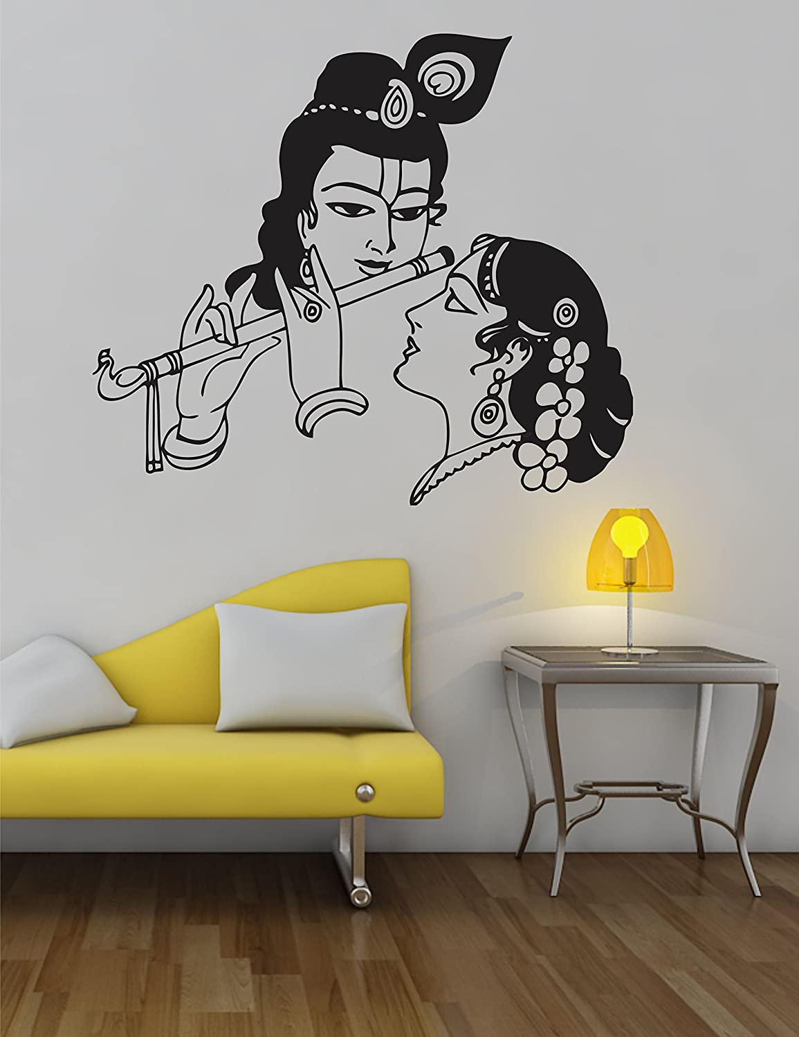 Wall stickers radha krishna - Buy Ddreamz Radha Krishna Vinyl Wall Sticker Black Online At Low Prices In India Amazon In