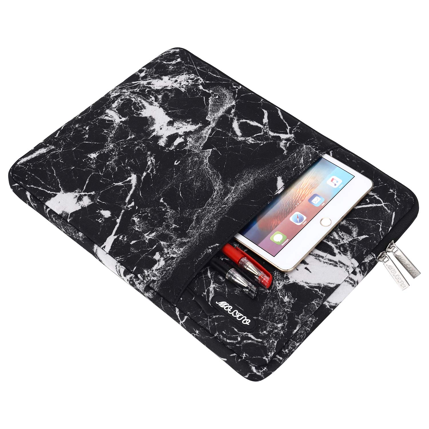 MOSISO Laptop Sleeve Bag Compatible 13-13.3 Inch MacBook Pro, MacBook Air, Notebook Computer, Vertical Style Water Repellent Polyester Protective Case Cover with Pocket, Black Marble by MOSISO (Image #5)