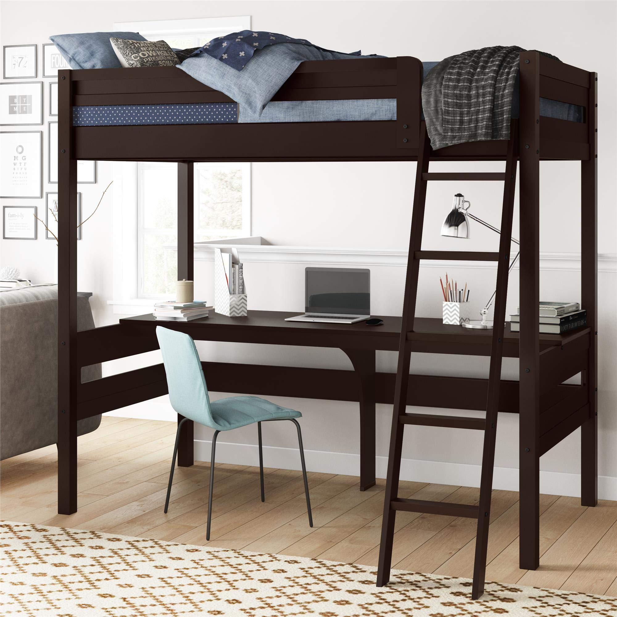 Dorel Living Harlan Wood Loft bed with Ladder and Guard Rail, Twin, Espresso by Dorel Living