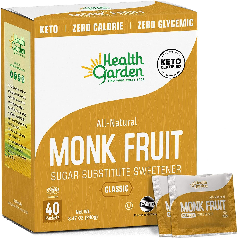 Health Garden Monk Fruit Sweetener, Classic - Non GMO - Gluten Free - Sugar Substitute - Kosher - Keto Friendly 40 Packets (2 pack)