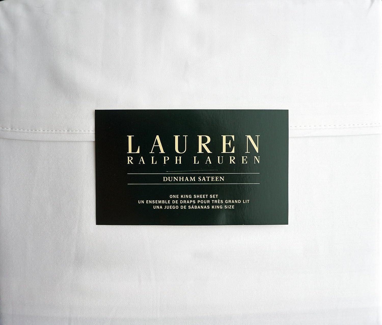 Lauren Ralph Lauren King Size Dunham Sateen 4 Piece Sheet Set 100% Cotton - White