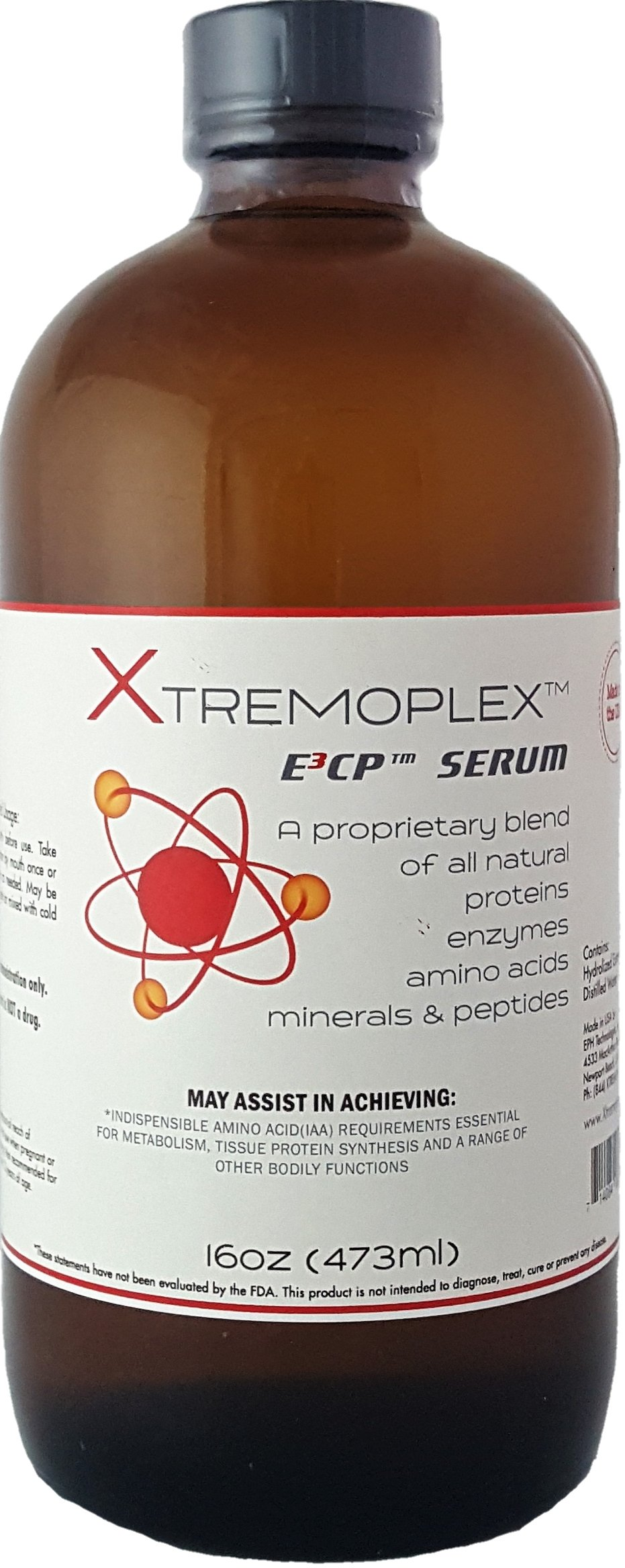 Xtremoplex E3CP Serum by EPH Technologies   Proprietary Blend of All Natural Proteins, Enzymes, Amino Acids, Minerals and Peptides   Made in the USA (16oz)