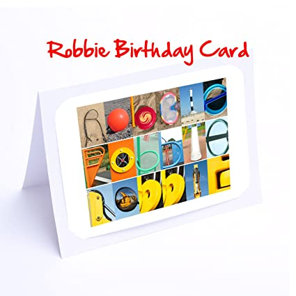 Boys Personalised Cards 7x5 ROBBIE Photo Birthday Card Or Greeting With FREE Delivery Amazoncouk Kitchen Home