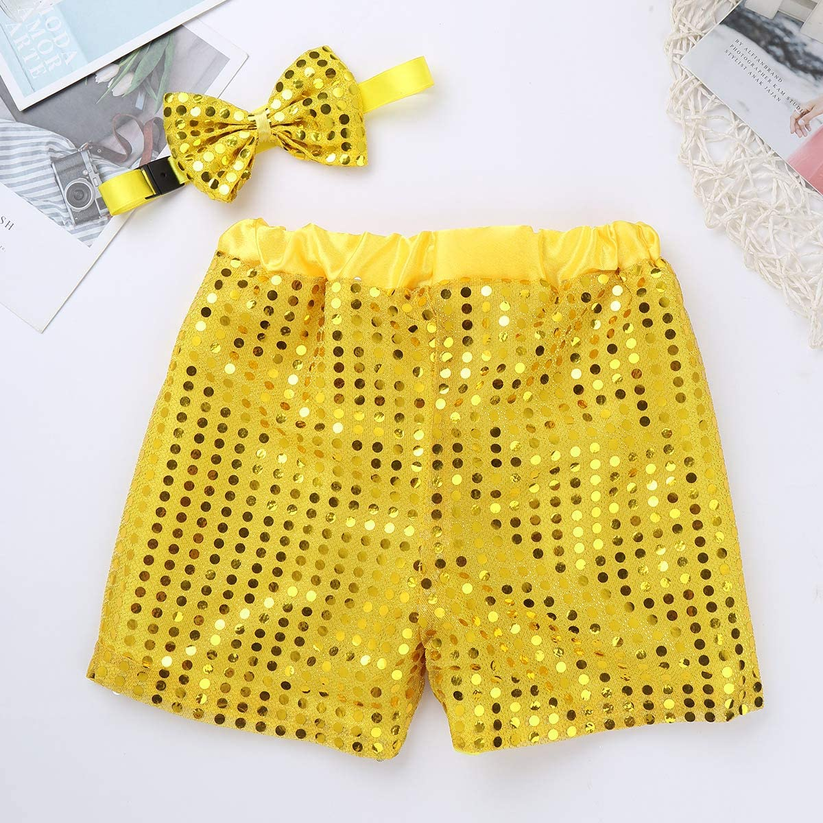 iEFiEL Boys Girls Jazz Dance Choir Stage Performance Shiny Sequined Shorts Pants with Bow 2Pcs Fancy Outfit