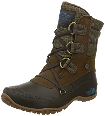 The North Face Nuptse Purna Shorty Boot Womens Desert Palm Brown/Storm Blue  5