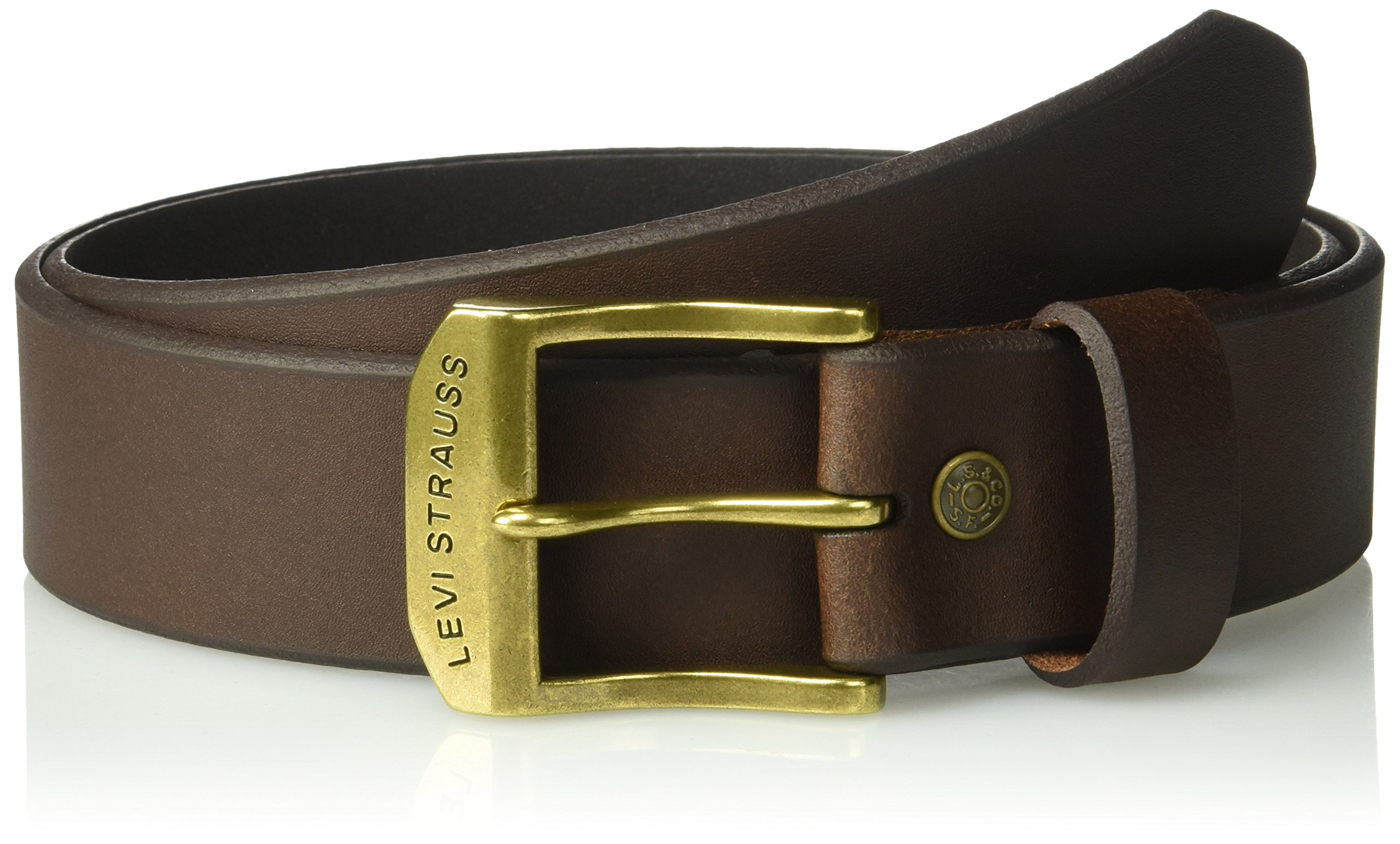 Levi's Men's 100% Leather Belt  with Prong Buckle, Brown, 36