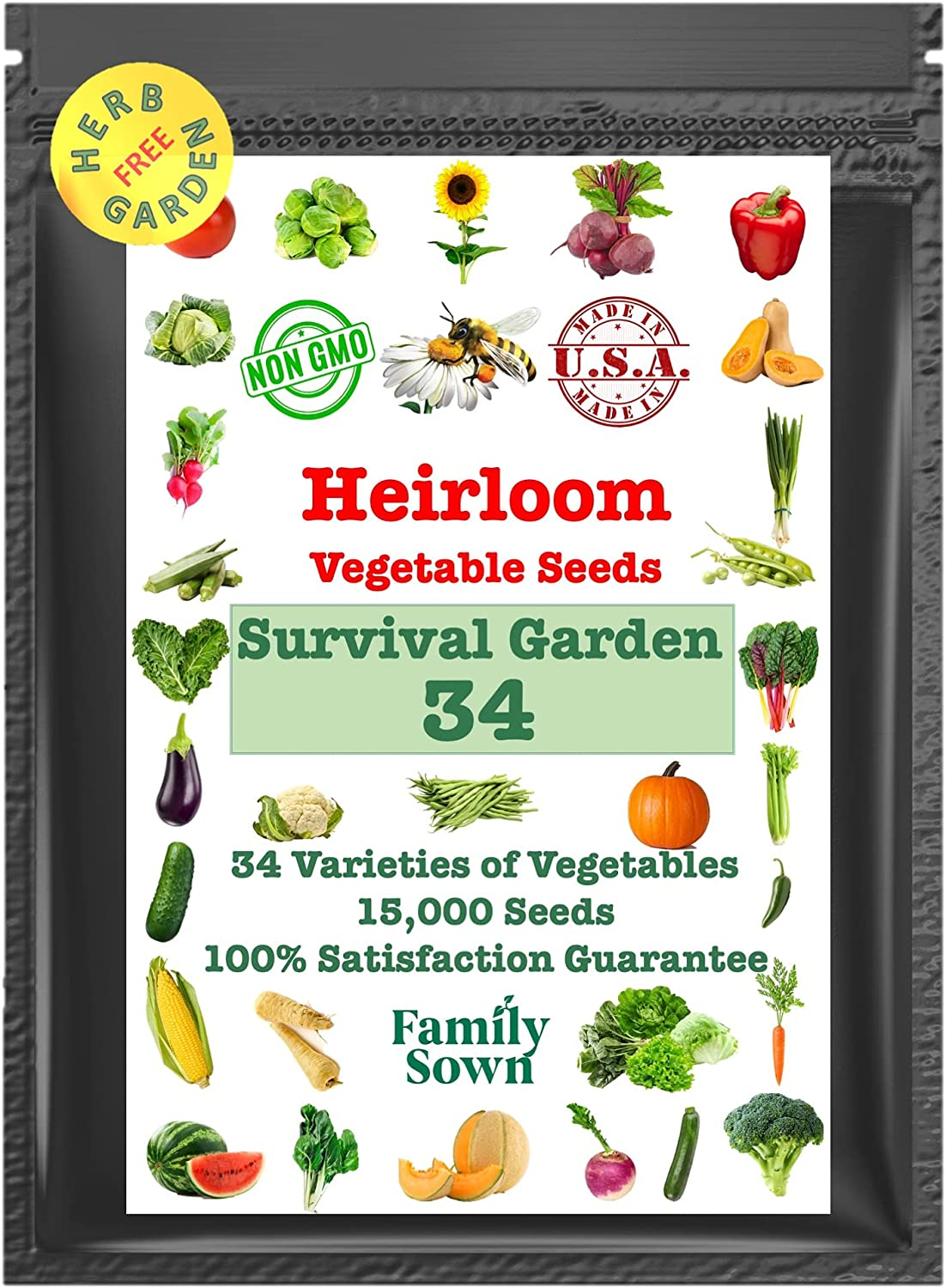 Family Sown Survival Seeds – 15,000 Non GMO Heirloom Seeds, Naturally Grown Herb Seeds & Seeds for Planting Vegetables and Fruits, Perfect Vegetable Garden Seed Starter Kit