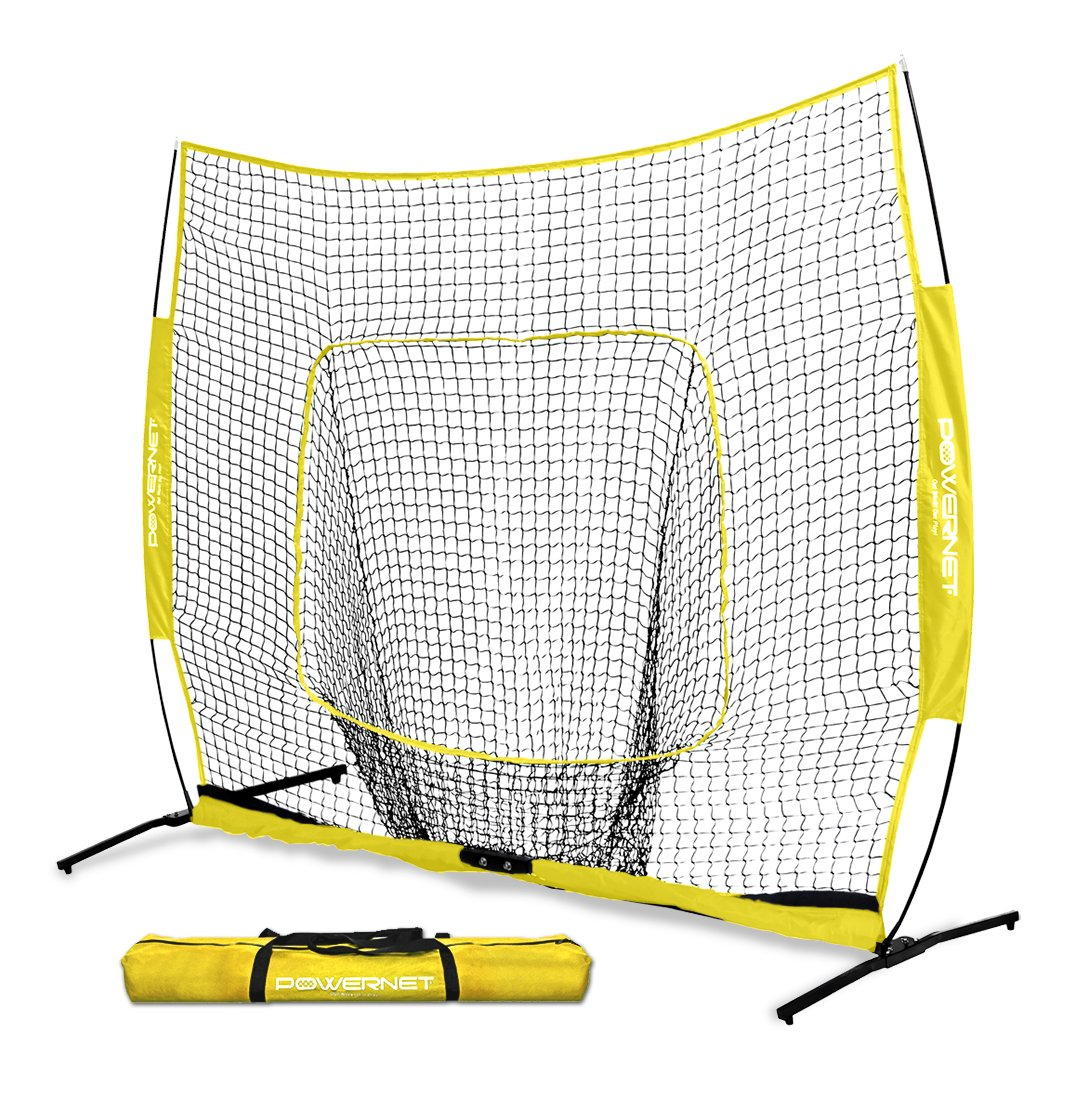 PowerNet 7x7 PRO Net with One Piece Frame (Yellow) | Baseball Softball Practice Net | Training Aid for Hitting Pitching Batting Fielding Portable Backstop | Bow Style Frame | Non-Tip Weighted Base by PowerNet