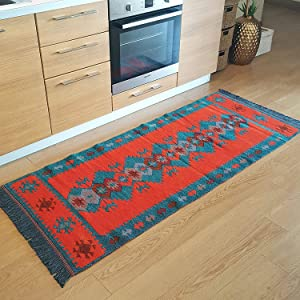 Modern Bohemian Style Area Rug & Runner, 2.5' x 6' feet, (30'' x 71'' inches), Washable, Natural Dye Colors, Reversible (Turquoise-Orange)