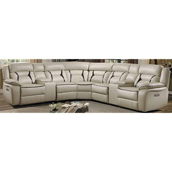"""Homelegance Amite 119"""" Power Reclining Sectional Sofa, Beige Leather Gel Matched"""