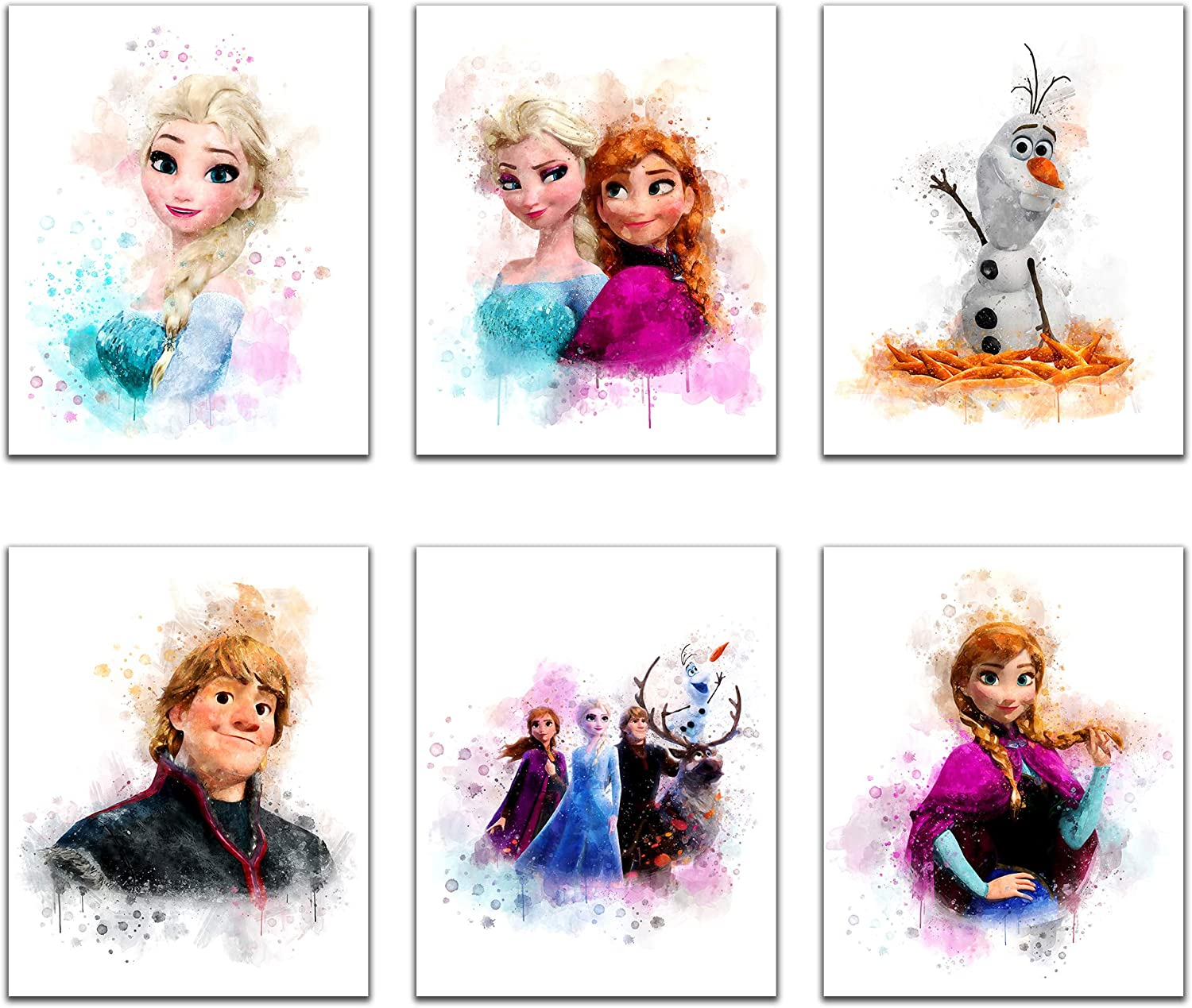 Frozen Wall Decor - Set of 6 (8 inch x 10 inch) Watercolor Poster Prints, Stuff For Nursery Wall Art, Posters for Baby Shower Decorations, Frozen Bedroom Decor for Girls, Kids Room Print (UNFRAMED)