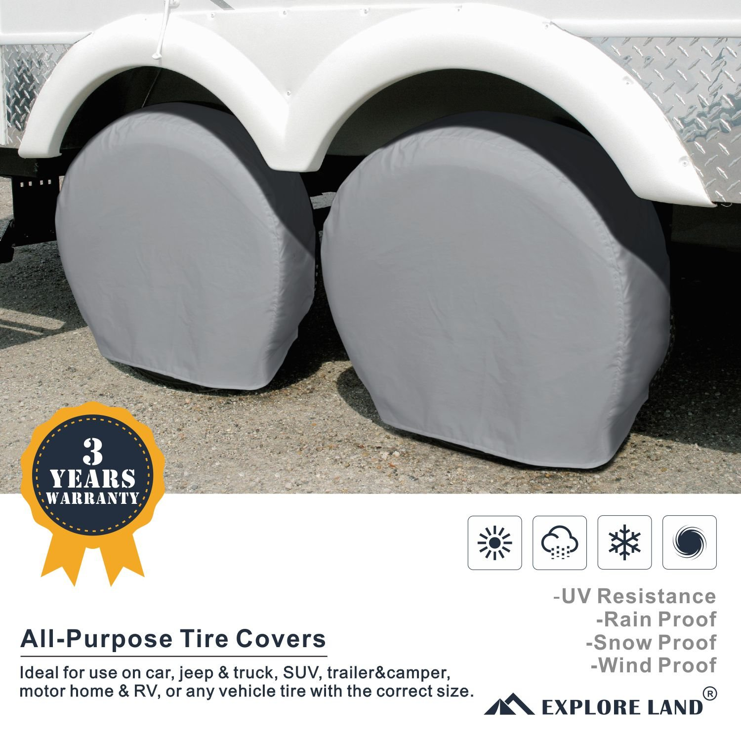 For Jeep RV Explore Land Tire Cover , Charcoal Truck M SUV Universal Fit Camper 4 Pack Tough Vinyl Wheel Protector Fits Tire Diameters 26-28.75 Trailer