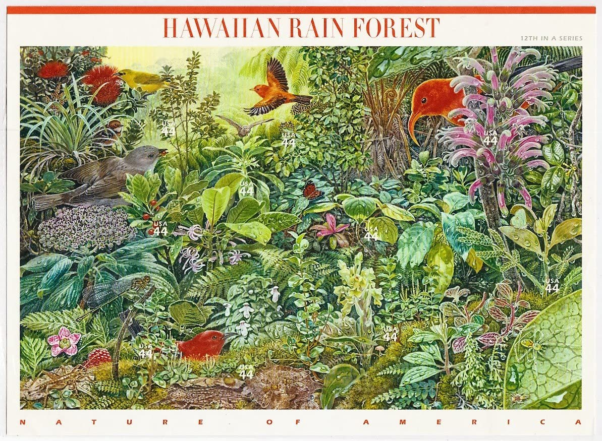 Hawaiian Rain Forest (Nature of America), Full Sheet of 10 x 44-Cent Postage Stamps, USA 2010, Scott 4474