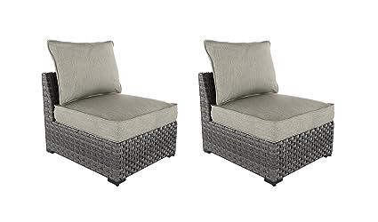 Fantastic Ashley Furniture Signature Design Spring Dew Outdoor Armless Chair With Cushions Set Of 2 Gray Creativecarmelina Interior Chair Design Creativecarmelinacom