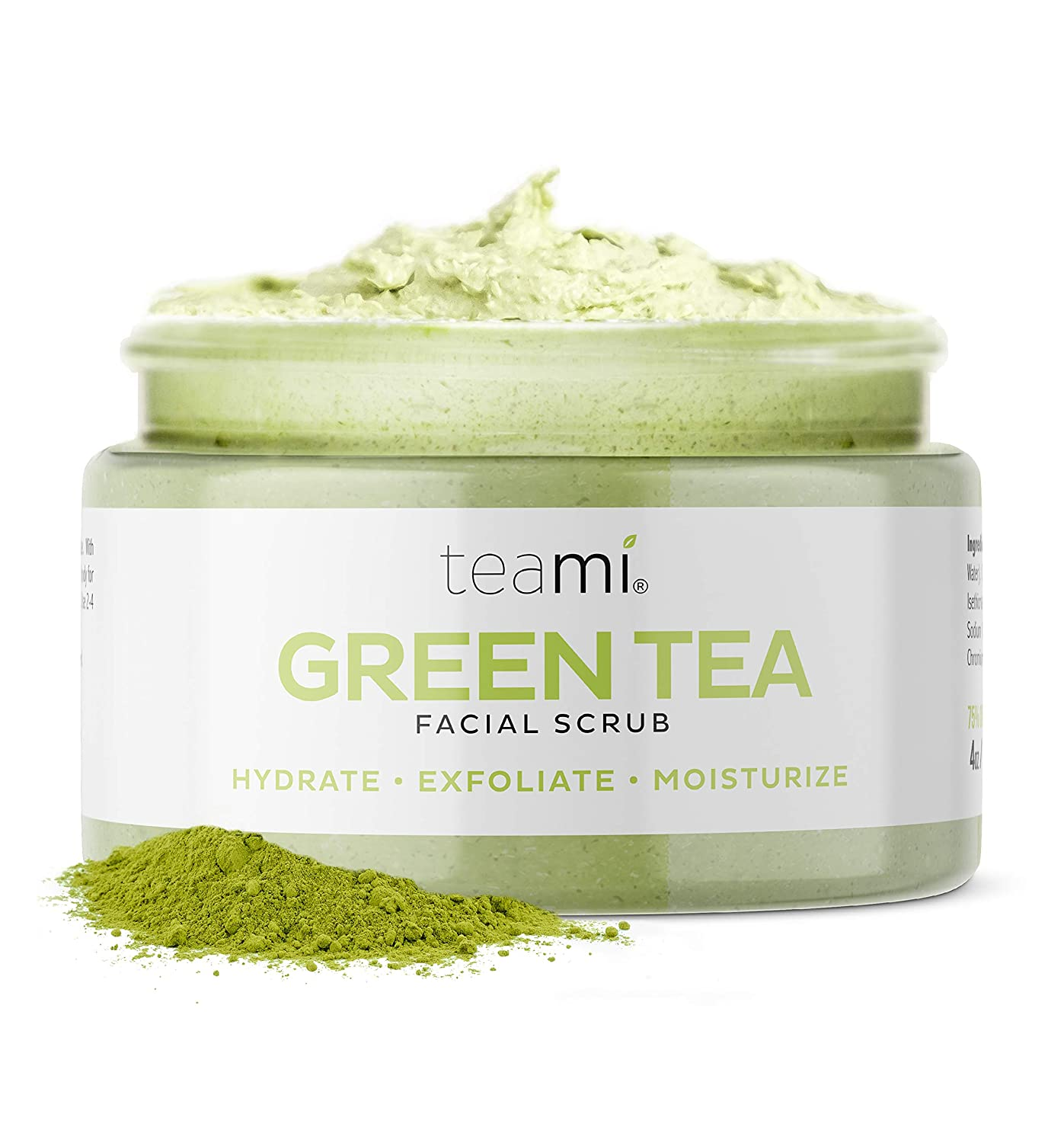 Teami Matcha Green Tea Face Scrub - Natural Face Exfoliator for All Skin Types - Organic Exfoliating Face Wash with Lemongrass - USA Made Facial Scrub for Women & Men - Non-Greasy Daily Face Exfoliant : Beauty