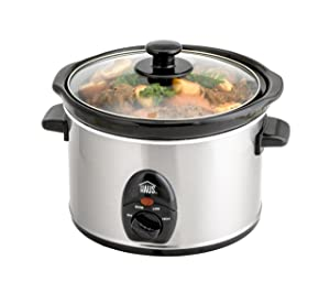 Haus HSC 44235 SS Electric Slow Cooker, Adjustable Temp, Entrees, Sauces, Stews & Dips, Dishwasher Glass Lid & Ceramic Pot, 2.5 Qt Capacity, Stainless Steel