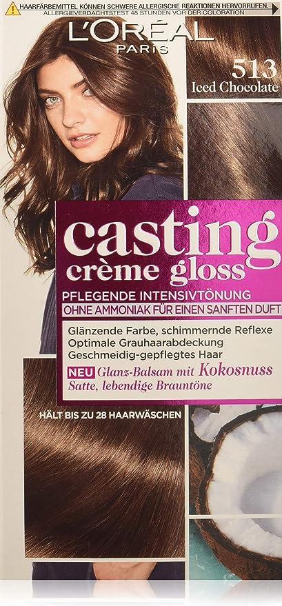 Tinte para cabello LOréal Paris, color 513, Iced Chocolate, 3 unidades.