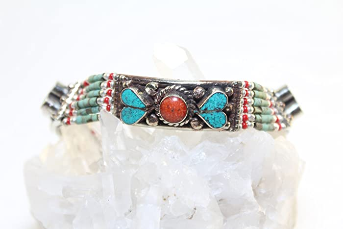 dca94a2fc54cf Image Unavailable. Image not available for. Color  Handmade Bracelet-Crushed  Inlaid Turquoise ...