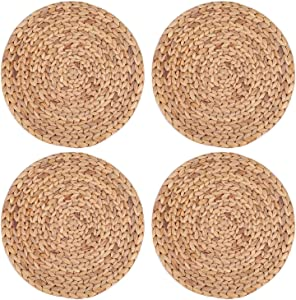 Yesland 4 Pack 11.8'' Rattan Tablemats - Natural Round Braided Water Hyacinth Weave Placemat - No-Slip Wooden Heat Resistant Mats for Table, Coasters, Pots, Pans & Teapots in Kitchen