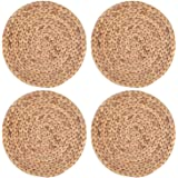 Yesland 4 Pack 11.8'' Rattan Tablemats - Natural Round Braided Water Hyacinth Weave Placemat - No-Slip Wooden Heat…