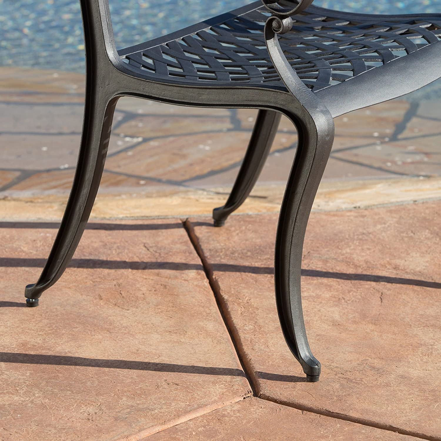 Amazon.com : Christopher Knight Home Hallandale Black Sand Cast Aluminum Outdoor  Chairs (Set Of 2) : Patio, Lawn U0026 Garden