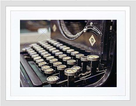 Fotografía antigua máquina de escribir teclado Retro Vintage FRAMED Art Print pantalla plana B12 X 3707