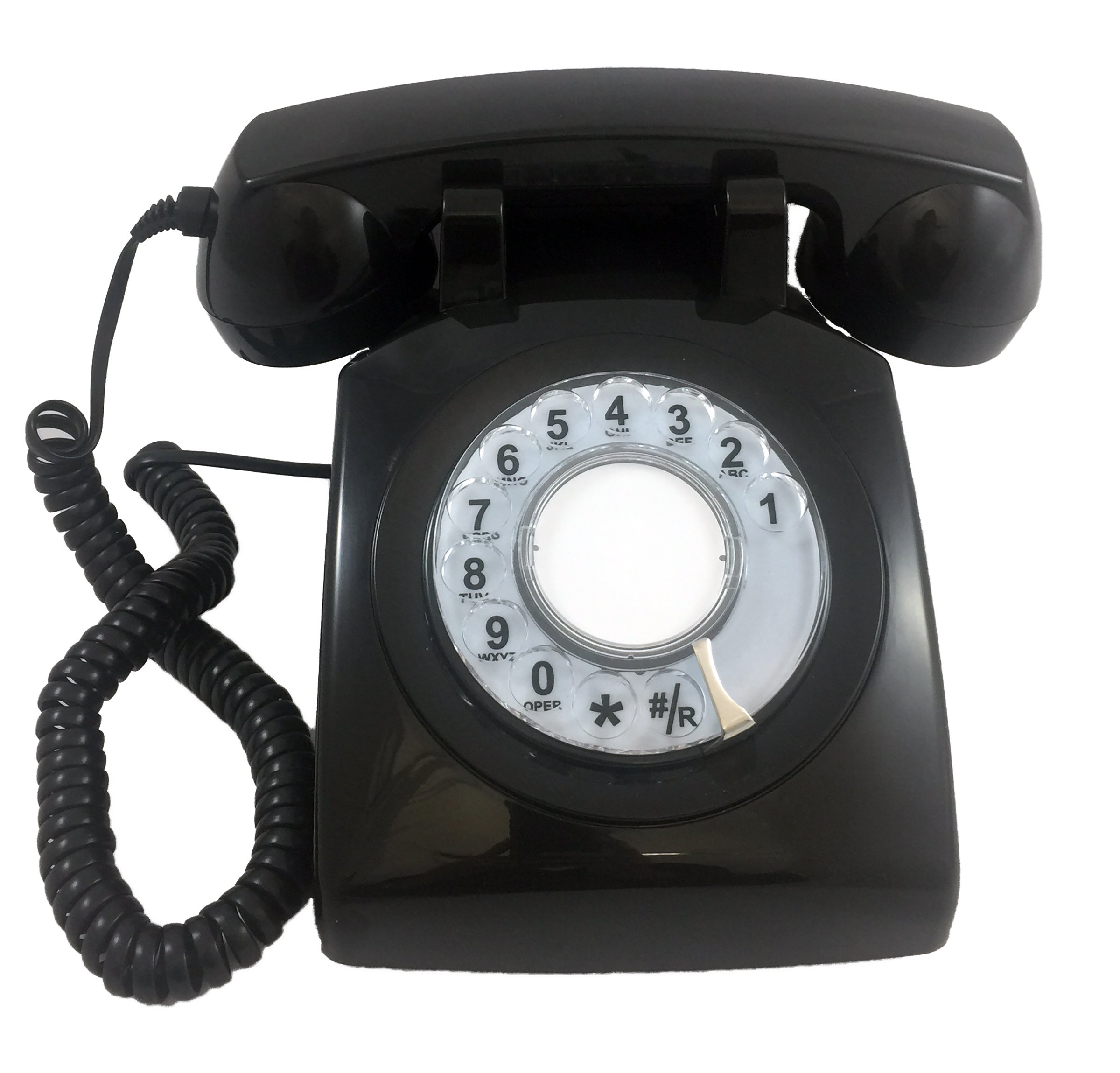 Modern Cool Decorate Princess Black Classic Old Model Timey School Antique Vintage Novelty Funky Looking Style Retro Rotary Dial Fashion House Office Landline Phone Reproduction Replica Clone