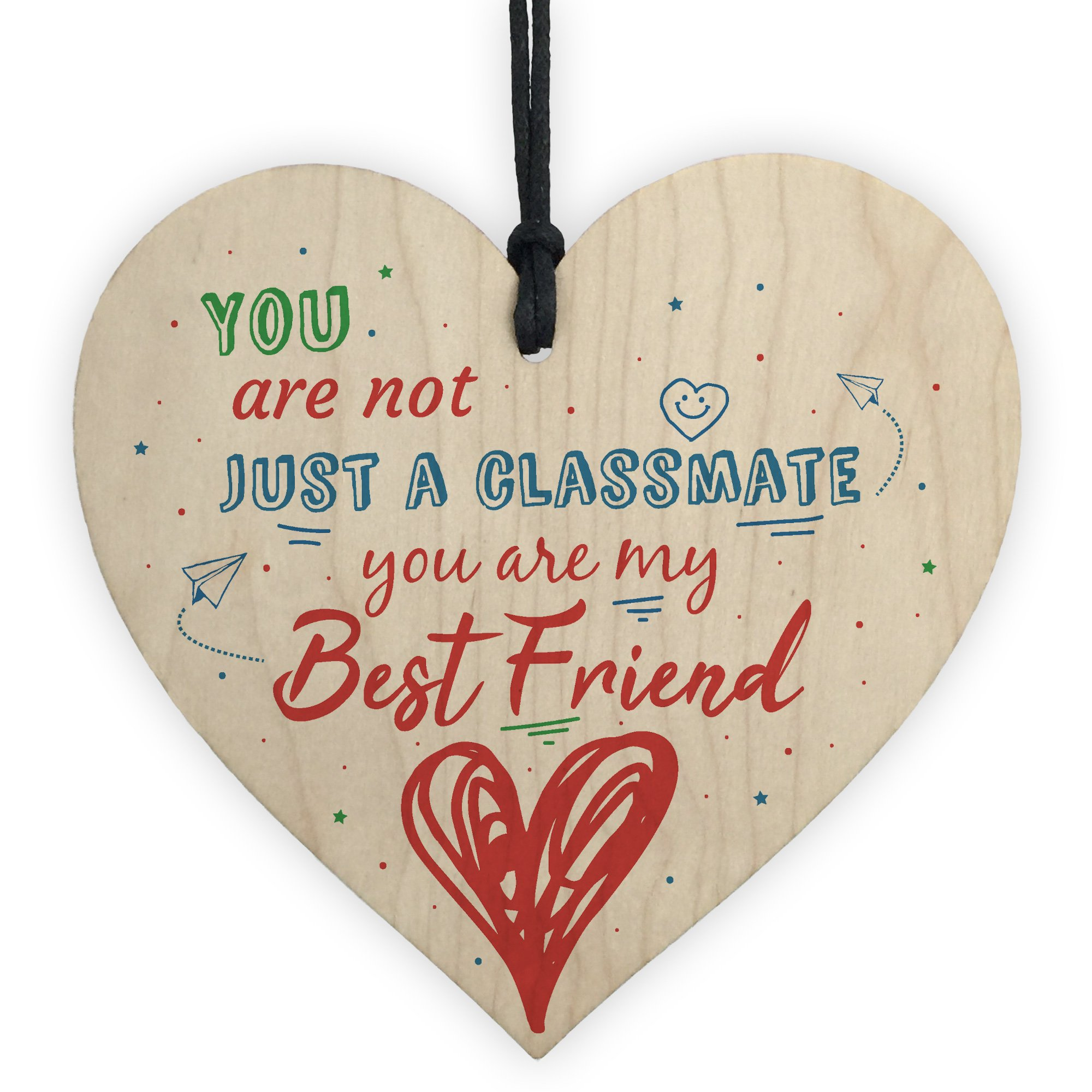 XLD Store Wood Heart Plaque Gift For Classmate Teacher School Friendship Thank You Gift End Of Term Present