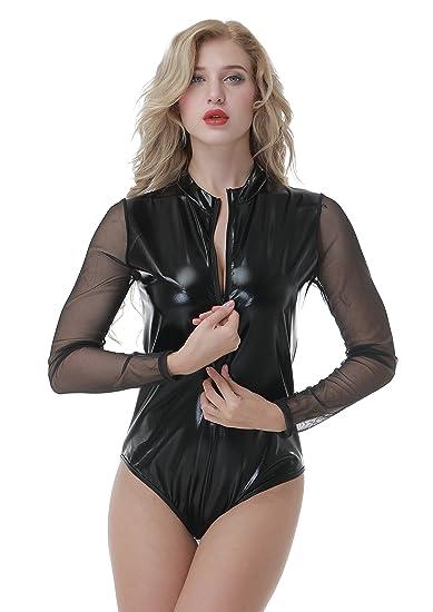 4132e6b509ebe YeeHoo New Women s Black Wet Look Front Zip Long Sleeve Monokini Leotard  Teddy Bodysuit Pole Dance at Amazon Women s Clothing store