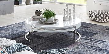 Table Basse Ronde Breda Vernis Blanc Brillant Armature Poli Miroir