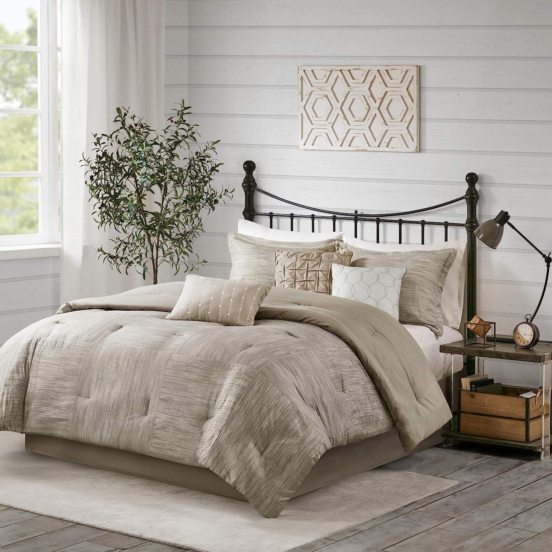 "Madison Park Walter Comforter-Luxe Seersucker Print Design All Season Down Alternative Bedding, Matching Shams, Bedskirt, Decorative Pillows, Queen(90""x90""), Taupe"