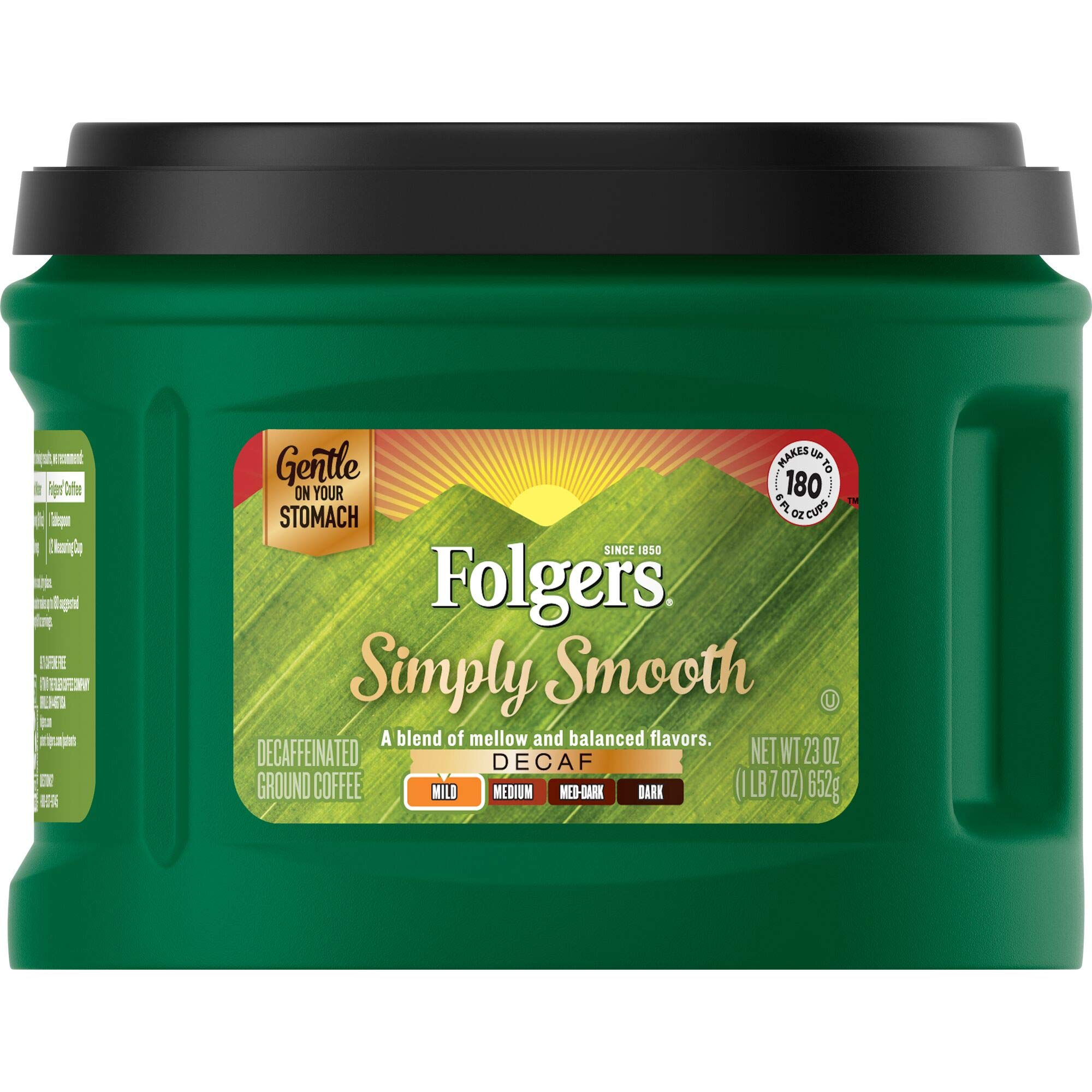 Folgers Simply Smooth Decaf Ground Coffee, Mild Roast, 23 Ounce (Pack of 6), Packaging May Vary by Folgers