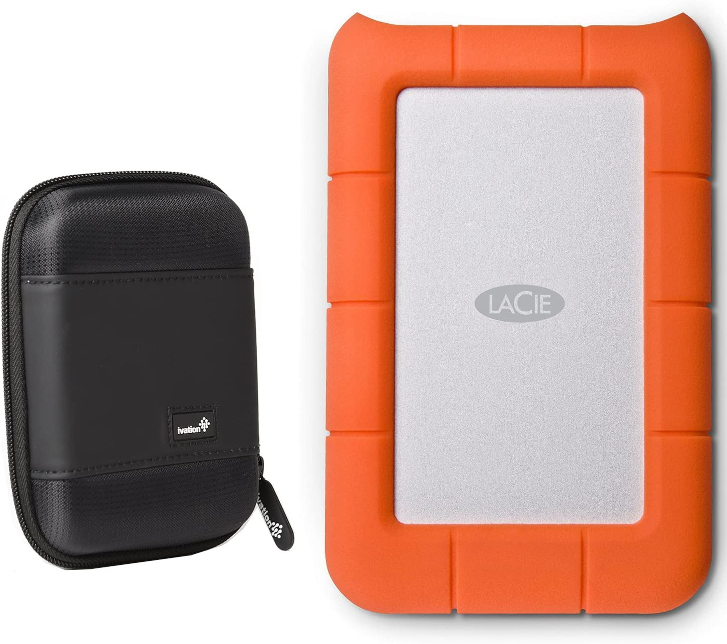 LaCie Rugged Mini USB 3.0 / USB 2.0 1TB External Mobile Hard Drive 301558 with Ivation Compact Portable Hard Drive Case