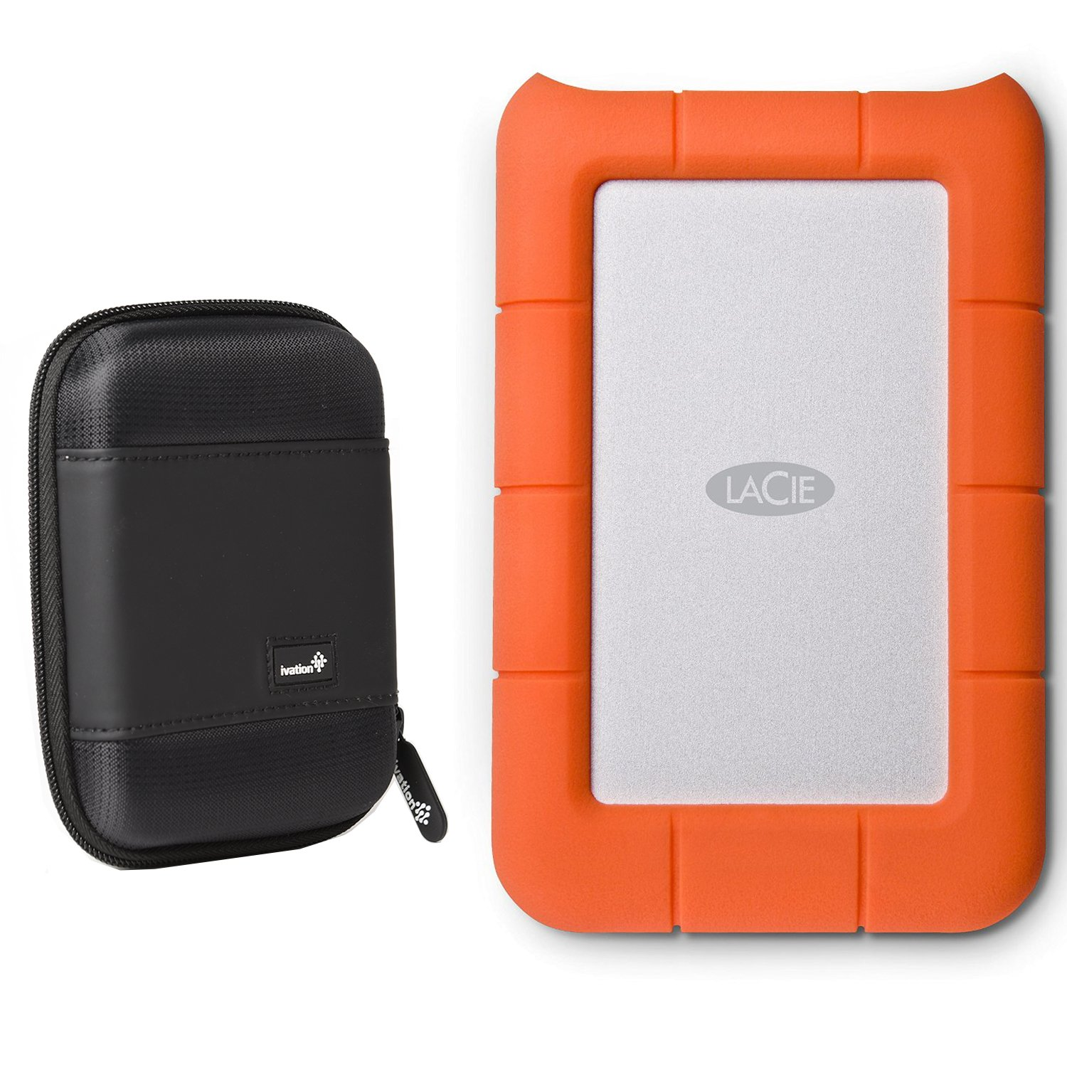 LaCie Rugged Mini USB 3.0 / USB 2.0 4TB External Hard Drive (LAC9000633) With Ivation Compact Portable Hard Drive Case (Small)