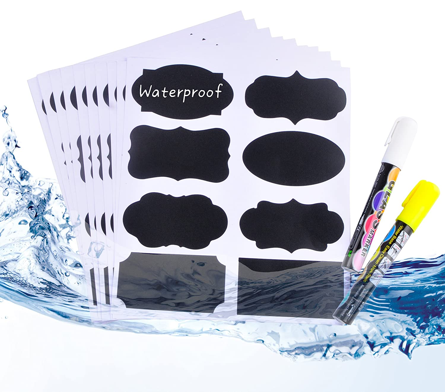 Chalkboard Labels, 112pcs Waterproof/Reusable Blackboard Sticker Kit For Kitchen Organize, With 2 Erasable White and Yellow Chalk Pens To Decorate Your Party/Office Mason Jars and Kilner Bottles Sunshine