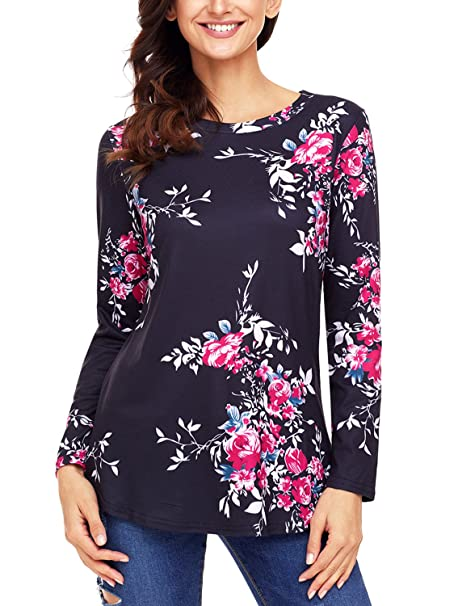 448f10e09a9e7 GOSOPIN Women Floral Print T Shirt Casual Long Sleeve Round Neck Blouse Tops  Small Black