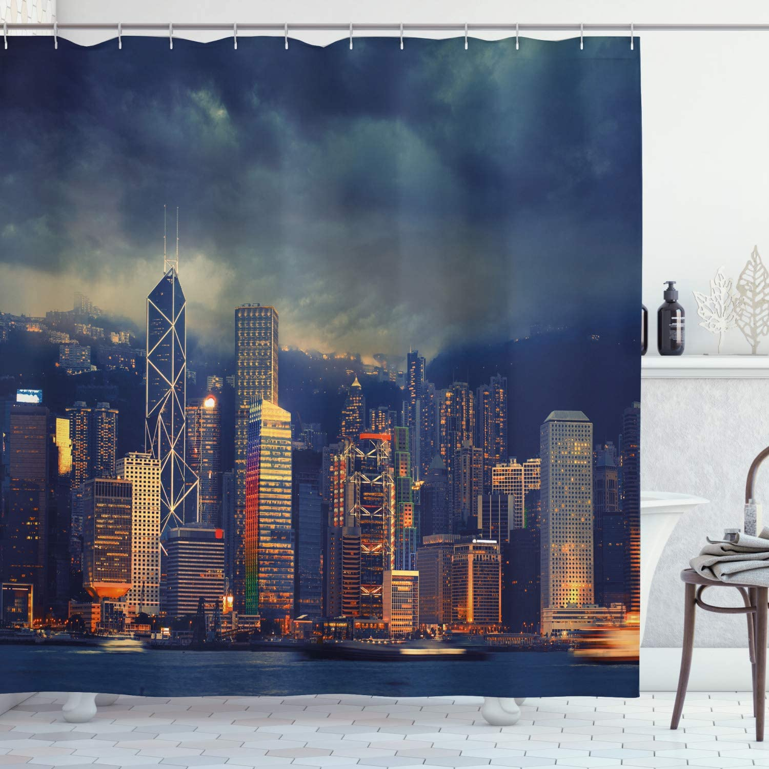 Ambesonne Cityscape Shower Curtain, Hong Kong Cityscape Stormy Weather Dark Cloudy Sky Waterfront Port Dramatic View, Fabric Bathroom Decor Set with Hooks, 70 Inches, Multicolor