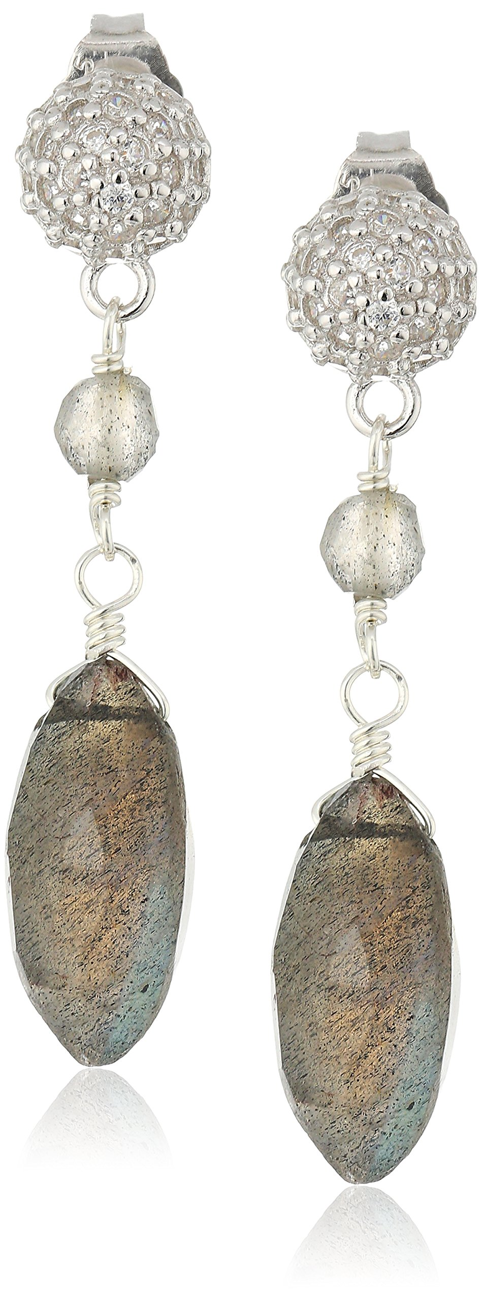 Pave Cubic Zirconia Ball Tops with Labradorite Marquise Shaped Sterling Silver Drop Earrings