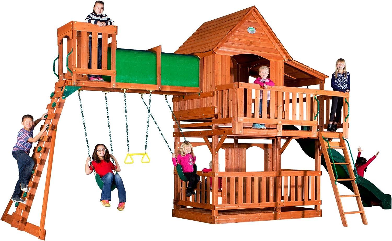 Backyard Discovery Woodridge II All Cedar Wood Playset Swing Set