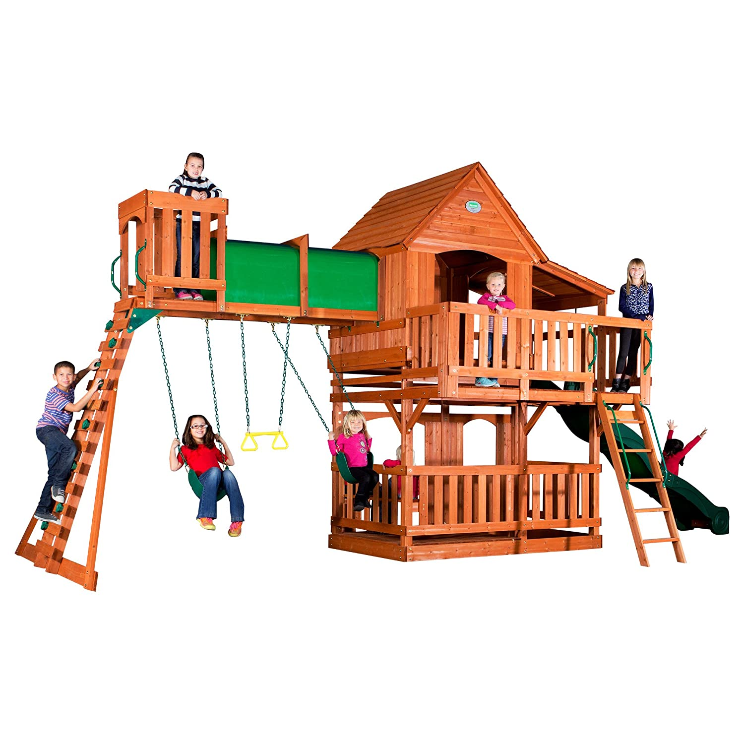 Amazon Com Backyard Discovery Woodridge Ii All Cedar Wood Playset