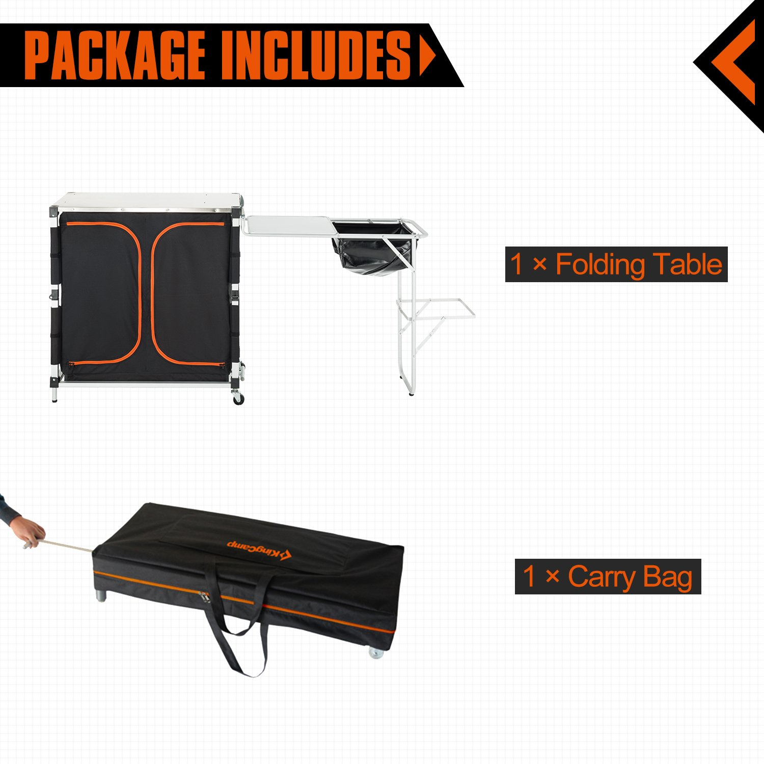 KingCamp Portable Light Multifunctional Camping Kitchen Cooking Table with Wheels Locker Sink by KingCamp (Image #6)