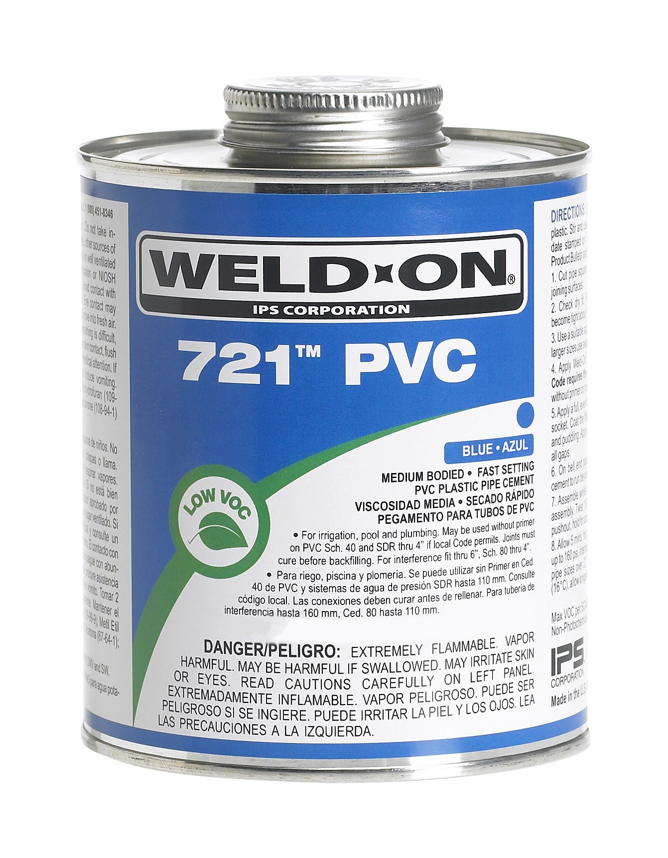 Weld-On 10160 Blue 721 Medium-Bodied PVC Professional Industrial-Grade Cement, Fast-Setting, Low-VOC, 1 gallon Can with Screw-on Cap