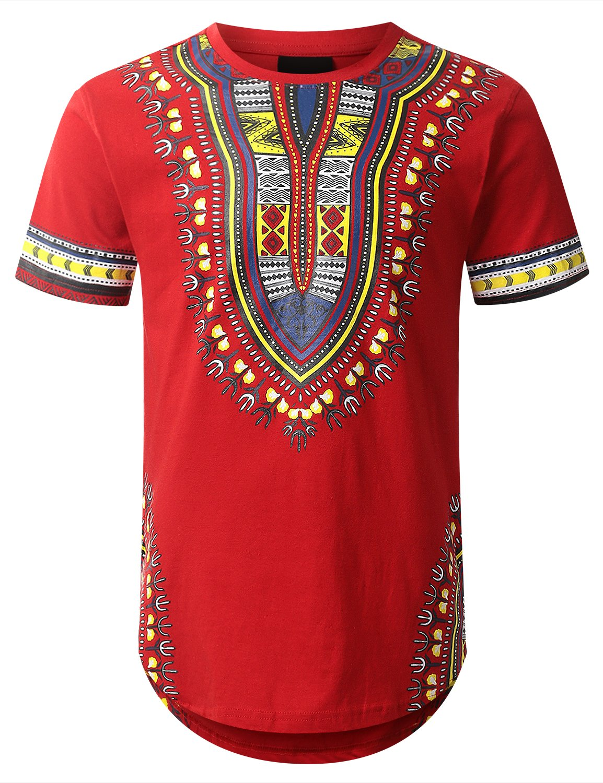 URBANCREWS Mens Hipster Hip Hop Dashiki Graphic Longline T-Shirt RED Medium