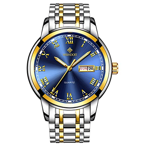 WISHDOIT Hombre Lujo Casual Impermeable Cuarzo Analógico Calendario Automatico Reloj con Moda Oro y Plata Bicolor Acero Inoxidable Pulsera 9846H: Amazon.es: ...