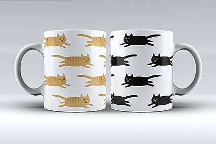 Pack 2 tazas ilustración gatos estampado decorada desayuno regalo original pareja