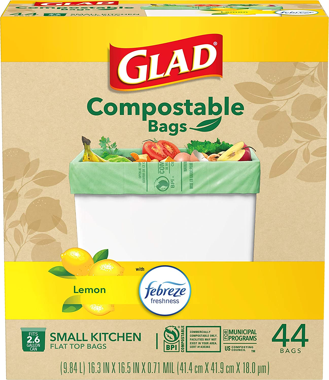 Glad Kitchen Compost Bags 2.6 Gallon 100% Compostable Bag, Febreze Lemon, 44 Count (Package May Vary)